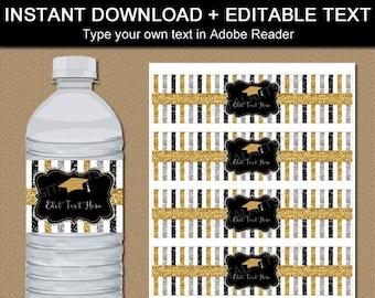 Graduation Water Bottle Label Template, 2021 Graduation Party Decoration Ideas, Water Labels Printable, Water Bottle Stickers Download G9