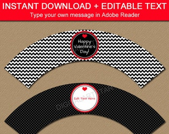 Valentines Day Cupcake Wrappers - Printable Valentine Cupcake Liners - EDITABLE Cupcake Wraps Template - Valentine Cupcake Decorations V1
