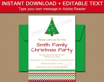 Instant Download Christmas Invitations - EDITABLE Holiday Party Invites - Printable Xmas Invitations - Christmas Invites Template Download