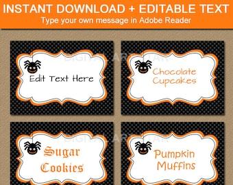 Halloween Labels, Buffet Cards, Dessert Table Labels, DIY Printable Halloween Stickers - EDITABLE Labels - Spider Labels Instant Download