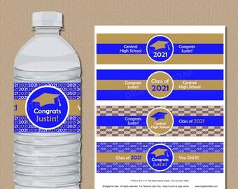 Blue and Gold Graduation Party Decorations 2021, Graduation Favors, Water Bottle Sticker, Water Bottle Labels, High School Graduation G1