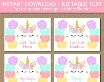 Unicorn Food Labels, Unicorn Food Tents, Unicorn Food Tags, Candy Buffet Labels, Unicorn Birthday Labels, Unicorn Baby Shower Printable U4