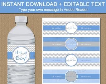Baby Boy Water Bottle Labels, DIY Printable Baby Shower Water Bottle Stickers, Blue Gray Chevron Baby Shower, Boy Birthday Decorations BB1