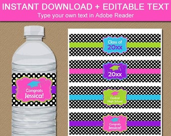 Girl Graduation Party Decorations 2021 High School, Printable Graduation Water Bottle Labels 2021, Girly Water Bottle Stickers Template G4