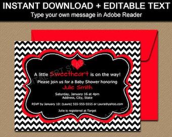 Valentines Day Invitation Template - EDITABLE Valentine Baby Shower Invitation - DIY Valentine Bridal Invitations Digital Download V1
