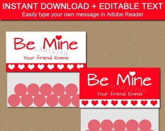 Valentines Day Treat Bag Toppers - Printable Valentine Party Favors - EDITABLE Valentine Bag Tags - Be Mine Valentine Bag Label Template V7