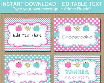 Pumpkin Gender Reveal Labels - Gender Reveal Candy Buffet Labels - Baby Reveal Food Labels - Pink Aqua Labels - Gender Reveal Food Tents
