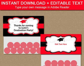 Graduation Goodie Bag Toppers - Red & Black Graduation Treat Bag Toppers  - Editable Graduation Party Favors - Class of 2018 Bag Labels G1