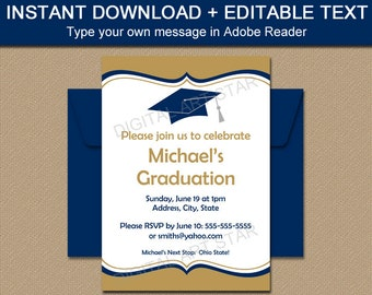 printable graduation invitation download navy gold graduation invitation printable editable pdf class of 2018 invitation template g1