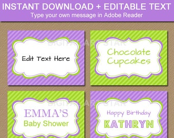 Printable Buffet Cards, Tent Cards, Candy Buffet Labels, Fancy Food Labels - Lavender and Lime Birthday Labels - Candy Table Tags Download