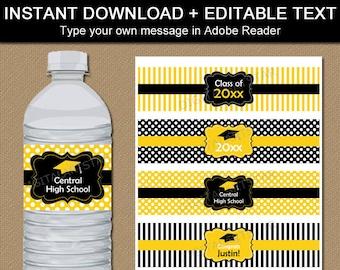 Class of 2018 Graduation Party Water Bottle Label, Digital Download High School Graduation Water Bottle Stickers, Drink Label Template G4