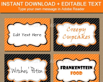 Halloween Labels, Tent Cards, Buffet Cards, DIY Printable Food Labels, Candy Buffet Labels Instant Download, Orange and Black Food Tents H1