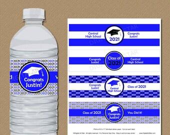 Royal Blue Graduation Party Decorations, Graduation Water Bottle Labels Personalized, Downloadable Graduation Decorations 2021 G1