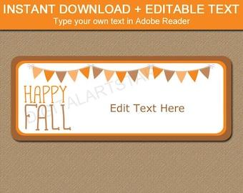 Happy Fall Address Label Template - Fall Return Address Labels Printable - Editable Address Labels Stickers - Downloadable Address Labels