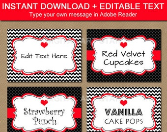 Valentines Day Labels - Printable Chevron Black Red Candy Buffet Labels, Tent Cards - EDITABLE Valentine Buffet Cards, Food Tags V1