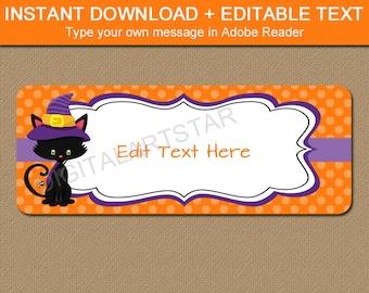 Halloween Address Labels - Printable Halloween Return Address Label - Halloween Gift Tag Stickers - Party Favor Labels - Halloween Cat Label