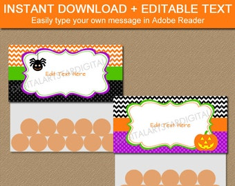 Printable Halloween Bag Toppers - Downloadable Halloween Party Favors - EDITABLE Chevron Bag Tags - Halloween Bag Labels - INSTANT Download