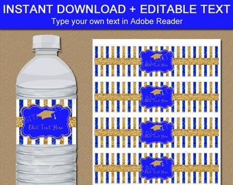 Graduation Water Bottle Labels 2021, Royal Blue and Gold Graduation Party Decorations, Glitter Water Bottle Stickers Printable Editable G9