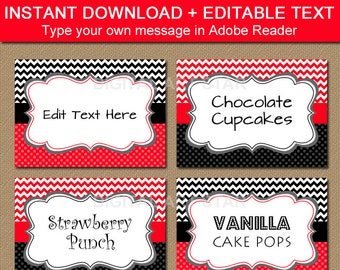 Printable Candy Buffet Labels, Editable Buffet Cards, Candy Station Label, Birthday Food Labels, Birthday Tent Cards, Party Decorations B1