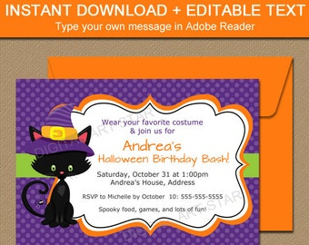 instant download halloween invitation printable halloween etsy