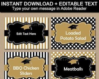 Graduation Candy Buffet Labels, Graduation Food Labels Printable, 2021 Graduation Decorations Black and Gold, Editable Food Tent Cards G4