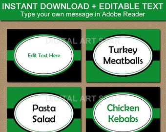 Kelly Green and Black Food Labels Printable, Candy Buffet Label Template, Place Cards, Food Tent Cards, Black and Green Party Decorations B7