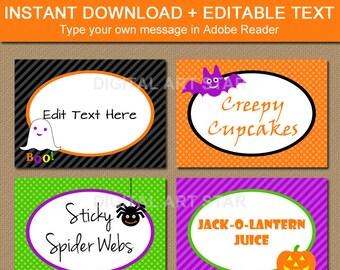 Halloween Printable Buffet Cards, Kids Halloween Labels, Tent Cards, Cute Halloween Food Labels, Candy Buffet Labels, Halloween Food Tents