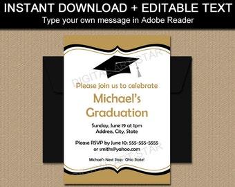 EDITABLE Graduation Invitations, Printable Graduation Party Invitations, Sign, Class Reunion Invitation Template Download Black Gold G1