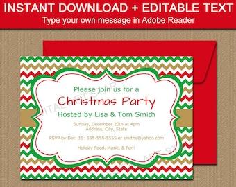 printable holiday invitation template editable christmas invitation downloadable christmas invites holiday invites instant download