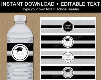 Graduation Party Decorations 2021, Graduation Water Bottle Labels Printable, Black and Silver Water Bottle Stickers, Water Bottle Favors G2