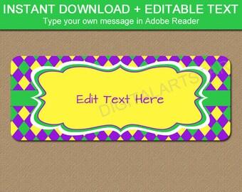 Mardi Gras Return Address Labels - Printable Address Labels - EDITABLE Address Label Template Idea - Purple Yellow Green - Digital Download