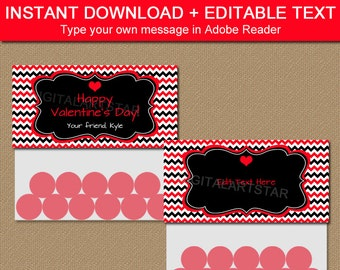 INSTANT DOWNLOAD Valentine's Day Bag Labels - Red and Black Bag Toppers - Chevron Bag Tags - Printable Valentine Party Favors - Party Ideas