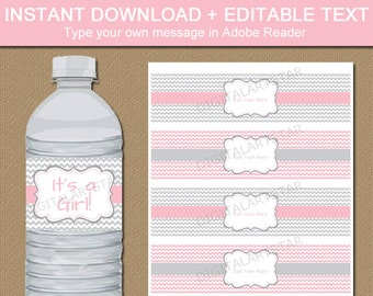 Girl Baby Shower Water Bottle Labels - Printable Bridal Water Bottle Wraps - Baby Shower Decoration - Pink Gray 1st Birthday Party Ideas BB1