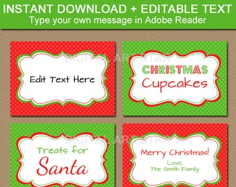 Printable Christmas Buffet Card, Christmas Labels, Holiday Candy Buffet Labels, Tent Cards, Christmas Place Cards, Christmas Food Label ARGD