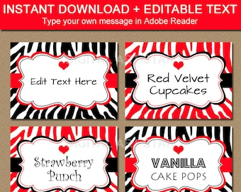 Printable Valentines Day Candy Buffet Labels - EDITABLE Valentine Label Template - Valentine Black & Red Zebra Buffet Cards Instant Download