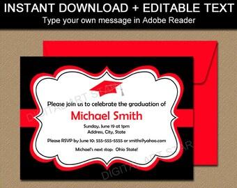 Printable High School Graduation Announcement Template - Instant Download Red Black Graduation Party Invitations - Graduation Printables G1