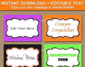 Printable Halloween Labels, EDITABLE Tent Cards, Buffet Cards, Sticker Labels, Food Labels - DIY Halloween Place Cards - INSTANT Download