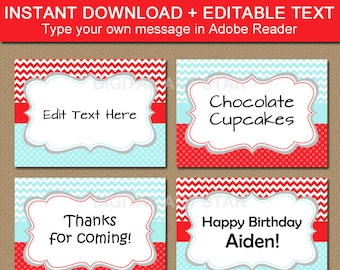 Aqua Red Candy Buffet Labels, Buffet Cards, Printable Tent Cards, Editable Labels, Diy Food Labels, Boy Birthday Labels, Boy Baby Shower B1