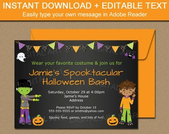 Boy Halloween Party Invitation - Printable Kids Halloween Invitation - Boy Halloween Birthday Invitation EDITABLE Kids Halloween Invite HCBK