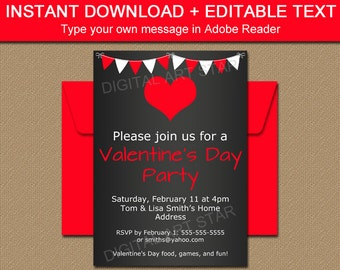 Printable Valentines Day Chalkboard Invitations - Valentines Day Party Decorations - Valentine Chalkboard Party Invitation Template V3