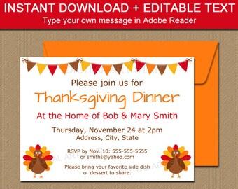 Thanksgiving Invitation Printable, Thanksgiving Baby Shower Invitation, Thanksgiving Birthday Invite, Friendsgiving Invitation Template T2