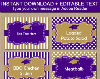 Graduation Food Tents, Candy Buffet Labels, Place Cards, Name Cards, High School Graduation Party Idea, Purple and Gold Graduation Labels G4