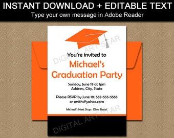Printable Graduation Invitation Template Black Red High School Etsy