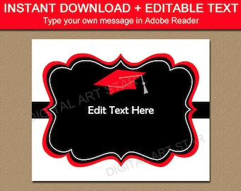 PRINTABLE Graduation Decorations, 2018 Graduation Photo Props, High School Graduation Party Decorations, White Red Black Graduation Sign G1
