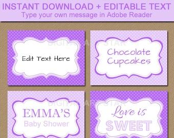 EDITABLE Purple Lavender Printable Buffet Cards, Tent Cards, Fancy Labels - Bridal Shower Labels, Baby Shower, Birthday, Baptism Food Labels