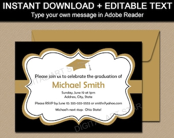 Black Gold Printable Graduation Invitation Template - Graduation Announcement - Graduation 2018 Party Supplies - EDITABLE Party Invite G1
