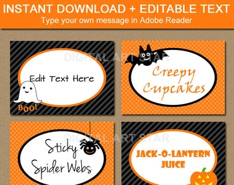 Food Label Card, Halloween Tent cards, DIY Halloween Decorations, Food Labels, Buffet Cards, Kids Halloween Party Decor, Buffet Labels