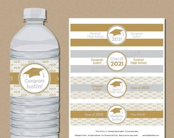 Silver and Gold 2021 Graduation Water Bottle Labels Party Decoration Personalized Graduation Printable High School Graduation Party Ideas G1