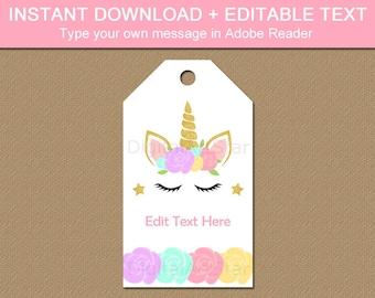 Unicorn Thank You Tags Printable, Editable Birthday Tags, Unicorn Party Favor Tags, 1st Birthday Gift Tags, Girl Birthday Party Theme U4