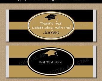 graduation favors ideas black and gold graduation candy wrappers instant download printable label template favors college ideas g5 favors etsy